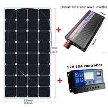 Mono Sunpower 18V 100W Flexible Solar Panel with 12V/24V Controller and 1000W Pure Sine Wave Inverter For 12V Battery Charger