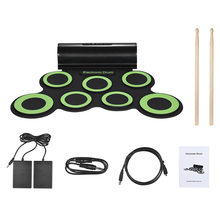 Portable Mono Electronic Drum Set Kit 7 Silicon Pads Built-in Speaker USB Powered with Drumsticks Foot Pedals for Beginners Kids(China)