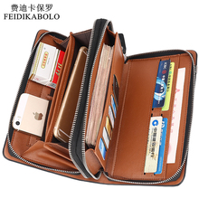 Luxury Wallets Double Zipper Leather Male Purse Business Men Long Wallet Designer Brand Mens Clutch Handy Bag carteira Masculina