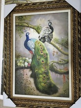 free shipping 100% animal classical handpainted painting peacock oil painting handmade oil painting 20 years of painting skills(China)