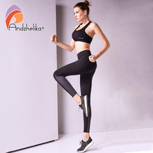 Andzhelika Yoga Leggings Pants Patchwork Women Tights Pant Breathable Stretched Sports Leggings Foot Tight Running Gym Pants(China)