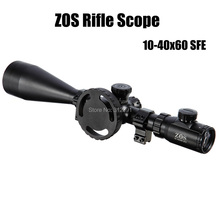 (Shipping From USA) New Arrival ZOS 10-40x60 SFE IR SWAT Extreme Tactical Rifle Scope Waterproof With Scope Mounts(China)