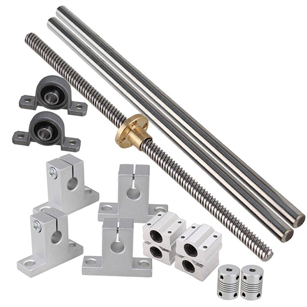 500mm Horizontal Optical Axis &amp; 8mm Lead Screw Dual Rail Shaft Support Pillow Block Bearings &amp; Flexible Shaft Coupling Set of 15<br>