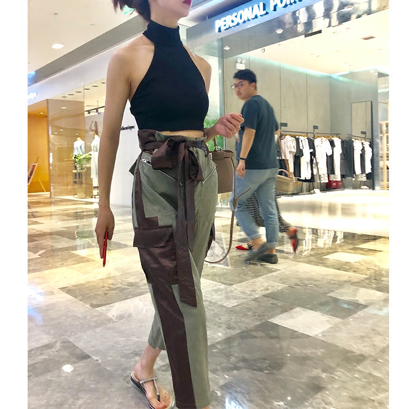 Women Pants Summer Pants Women 2018 New Patchwork Bandage High Waist Straight Trousers Female All Match Loose Thin Nine Trousers