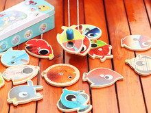 14 Fishes and 2 Fishing Rods Wooden Children Toys Fish Magnetic Pesca Play Fishing Game Tin Box Kids Educational Kids Toys