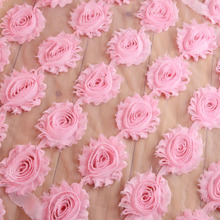 16 Colors 18yards/lot  1.97''  Vintage Shabby Flowers Frayed Chiffon Flower Sold By Yards Fabric Clothes / Hair Accessory TH65