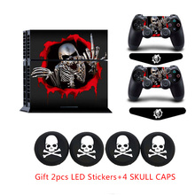 Non-slip Vinyl Protective Sticker Decal &4pcs White Skull Caps+2x LED Light bar Stickers For Sony PS4 Palystation 4 Console