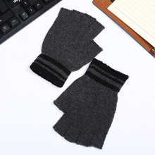 Men Wool Knitted Half Finger Glove Autumn Winter Warm Windproof Motor Driving Glove Cheap Boy Typing Glove Fashion New Year Gift(China)