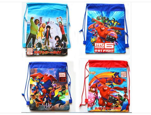 12Pcs Hot Big Hero 6 Baymax Drawstring Boys Girls Cartoon School Bag Children Printing School Backpacks Gifts for Birthday<br><br>Aliexpress