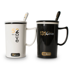 Thousands of couples 520 easy simple water glass ceramic mug simple coffee cup with lid spoon milk cup