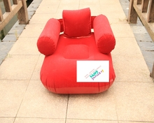 comfortable red color flocked pvc inflatable square sofa chair seat for adult with armchair /backrest