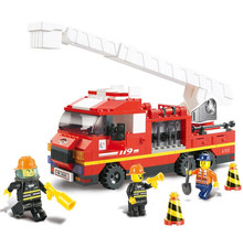 Sluban B0221 Fire Truck Building Blocks DIY Educational 270PCS Plastic Aerial Ladder Truck Sets Compatible With Lego(China)