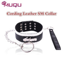 Buy Bdsm collar white lace leather chain sex toys couples bondage collar SM games vanquish fetish strapon sex tools