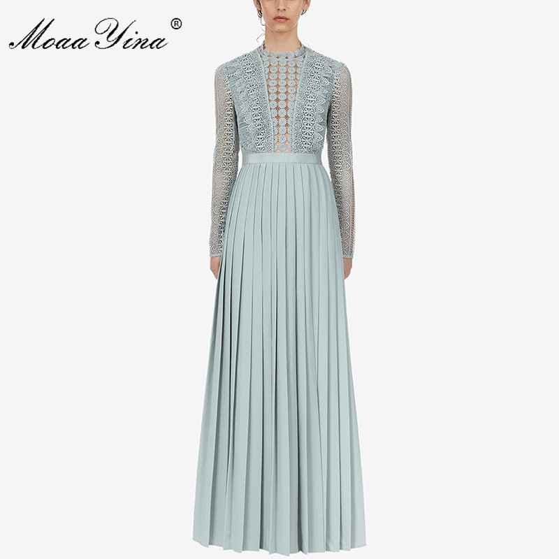 MoaaYina 2019 Runway New Arrive Pleated Long Dress Long Sleeve Light Blue Elegant Women Fashion Designer Party Maxi Dresses