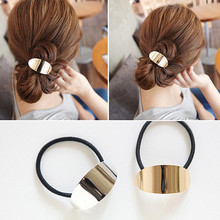 TS407 Punk Metal Fashion Women Hair Accessories Alloy Cute Black Elastic Bands Girl Hairband Rope Gum Rubber Band NEW 2017(China)