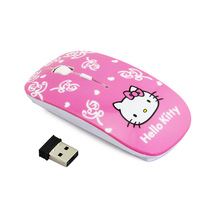 Game Mause 2017 Cartoon Hello Kitty Ultra-thin 2.4Ghz Wireless Optical Mouse Gaming Hellokitty Mini Mice for Computer