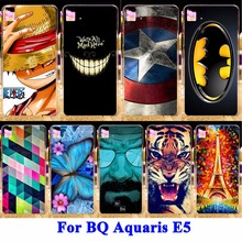 Colored Painting Phone Cases For  BQ Aquaris E5 3G 4G Version Cases Covers Hard PC Back Shell For BQ Aquaris E5 Phone Housing