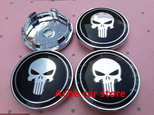 4pcs High quality 60mm Punisher Skull Logo car Wheel Center Hub Cap Badge emblem covers auto accessories Free shipping(China)