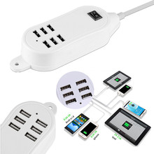 New Arrival 5V 5A US/EU Plug 6 USB Port Multi-function Wall Charger Station Power Adapter For iPhone Samsung(China)