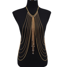 Women Girl Jewelry Sexy Gold Beach Bikini Multy Chain Tassel Crystal Bead Pendant Belly Waist Full Body Chain Necklace BD018