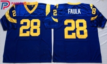 Embroidered Logo Marshall Faulk 28 blue white throwback high school FOOTBALL JERSEY for fans gift cheap 1106-2(China)