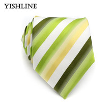 XT082 Mens 100% Silk Tie 8CM White Yellow Green Striped Jacquard Woven Classic Necktie Men Tie Neck Wedding Business Neckwear(China)