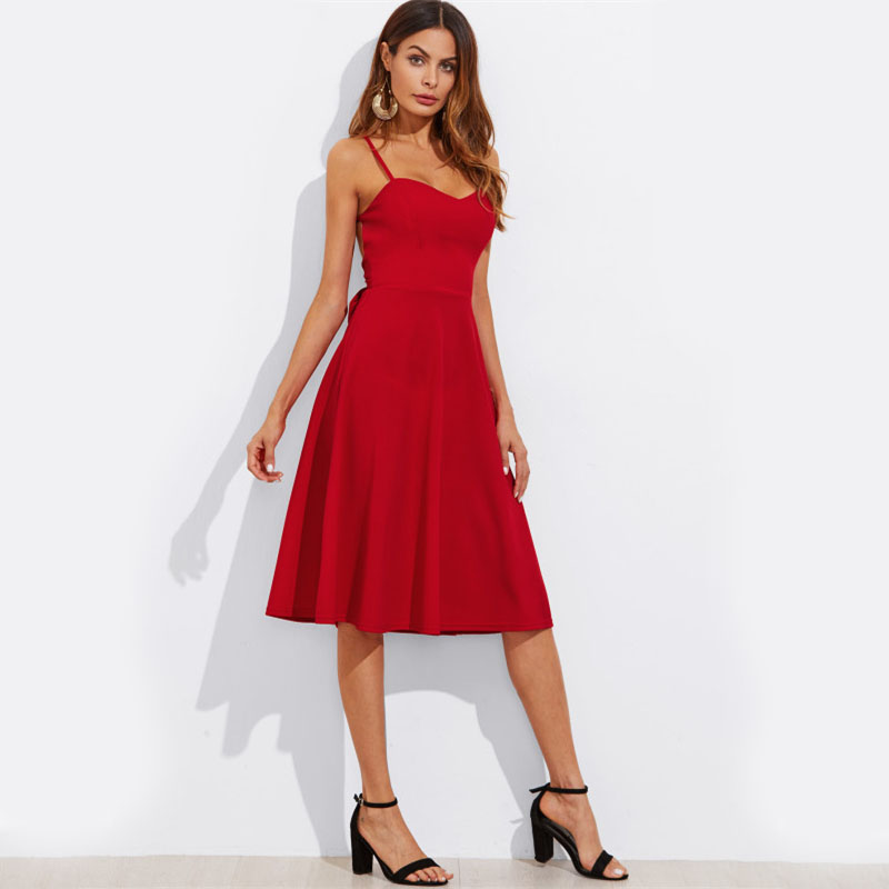 COLROVIE Crisscross Belted Back Cut Out Fitted & Flared Dress Red Spaghetti Strap Sleeveless Sexy A Line Party Dress Green 11
