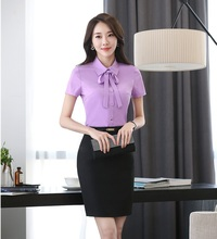Summer Two Piece Sets Women Business Suits with Skirt and Top Sets Ladies Blouse & Shirts  Office Uniform Designs Style
