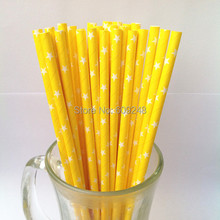 100pcs Mixed Colors White Star Printed Yellow Paper Straws, Buy Cheap Cute Party Supplies Paper Drinking Straws Outlet(China)