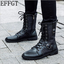 EFFGT Men's Genuine Leather Boots Man Military Motorcycle Boots Mid-Calf Martin Boot Male Four Seasons NEW High help Shoes C887(China)