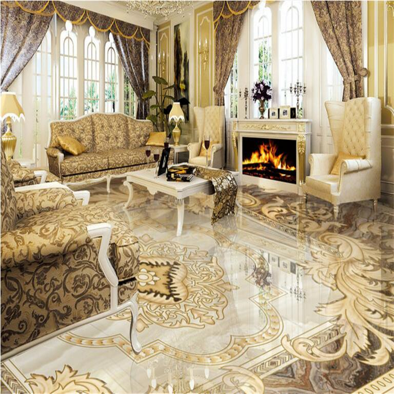 Beibehang Customized Non   Woven Waterproof Wallpaper European   Style  Pattern Stone Parquet Floor Tiles Decorative Painting