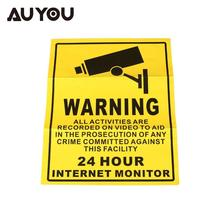 AUYOU Security Surveillance Warning Sign 24 Hours Monitor Alert Wall Sticker WATERPROOF(China)