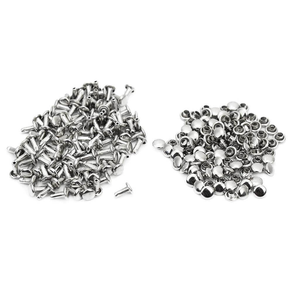 100x Round Dome Studs Nailheads Spots Spike for DIY Leather Craft Silver 6mm