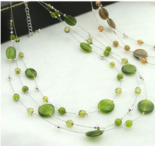 2 Colors Summer Promotion  European Multilayer Geometric Opals Cat Eye Stone Chokers Necklace V1585