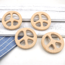 New BEECH SMOOTH HAND POLISHED PEACE SHAPE TOY BEECH WOODEN TEETHER BABY TEETHING TOY SHOWER GIFT EA348(China)