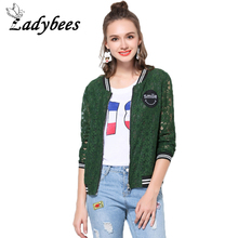 LADYBEES L-5XL Plus Size Women Lace Jacket Vintage Green Crochet 4XL Print Loose Casual Female Jacket Casaco 2017 Summer Autumn