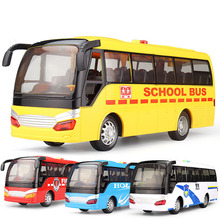 1:32 Plastic Abs Model Toys Bus Diecast Toy Vehicles Pull Back & Flashing & Musical High Simulation School Bus New Year Kid Gift(China)