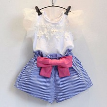 Girl Clothes Sets 2pcs Summer Children Baby Lace Floral T-shirt + Short Pants Casual Bow Suit 2pcs Outfits Set Girl 2-7Y(China)