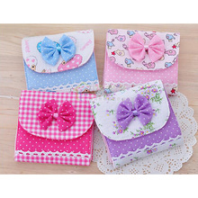 1Pcs Sanitary Napkin Bags Lovely Charming Nice Brief Cotton Bowknot Sanitary Napkins Admission Package Towel Storage Bag 9Z(China)