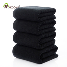 HAKOONA Black towels set cotton face towel bath towels for adults 2 sizes 70*140cm 35*75cm(China)