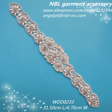 crystal bridal beaded rhinestone sash applique for wedding dress WDD0233(China)