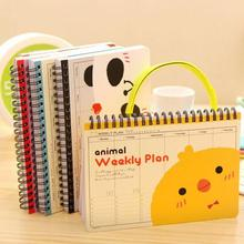 New Cute Kawaii Cartoon Animal Weekly Planner Notebook for Kids Children Creative Gift Korean Stationery Free shipping(China)