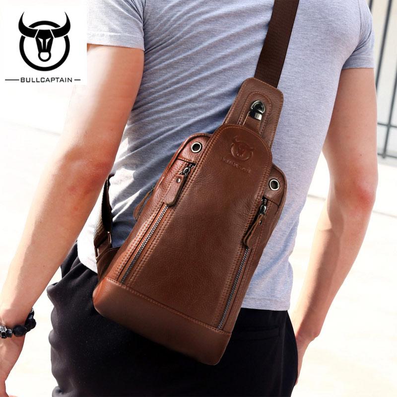 Bull Captain Genuine Leather Men Messenger Bag Chest Bags Casual Crossbody Bag Business Mens Hanbags Shoulder Bags For Men<br>