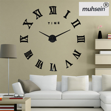2017New Home decoration wall clock big mirror wall clock Modern design,large size wall clocks.diy wall sticker unique gift watch(China)