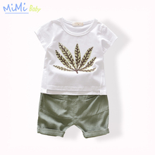 2017 Summer Baby Clothes Kids Clothing Set Children's tracksuits Short Sleeved Print Leaf Shorts+Middle Cotton Solid Pants