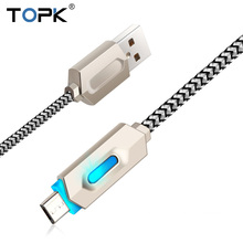 opk Intelligent LED Zinc Alloy Casing Stripe Nylon Braided 2.1A Fast Charging Micro USB Cable for Xiaomi Huawei Samsung HTC