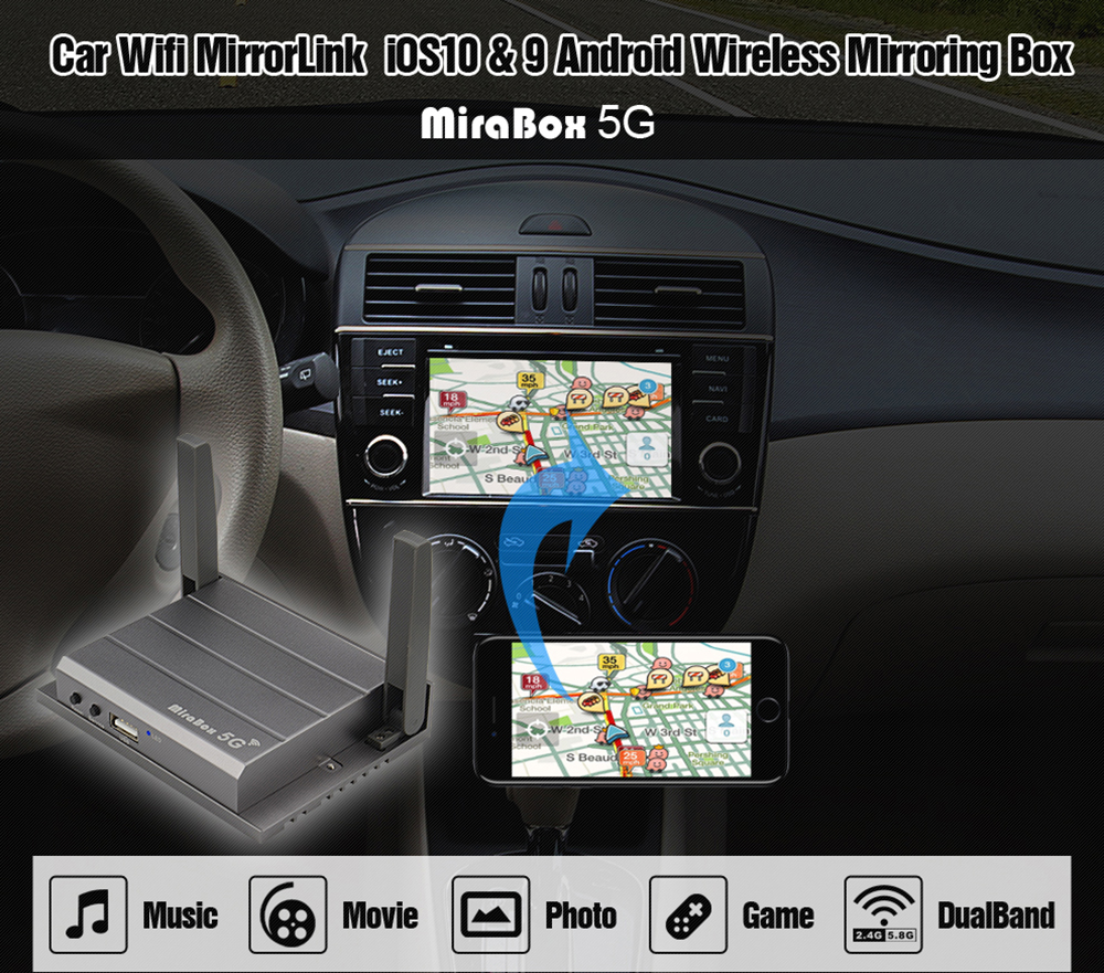 Car dual band 5G2.4G carplay box useful miracast rca support system retrofit with usb use home and in the car carplay box (4)
