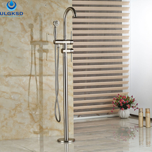 Ulgksd Wholesale and Retail Bathtub Tub Faucet Floor Mounted Tub Filler W/Hand Shower Mixer Tap Bathroom Faucet(China)