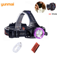 Usb 15000 lumen 6 Led Headlight with SOS Whistle Red Light 3*XML-T6+3 Led Head Torch 18650 or AA Battery Head Lamp for Hunting(China)