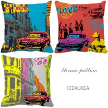 Art Painting Retro Cuba Style Car Models Print Custom Vintage Cushion For Sofa Chair Home Decor Coussin Decorative Throw Pillows